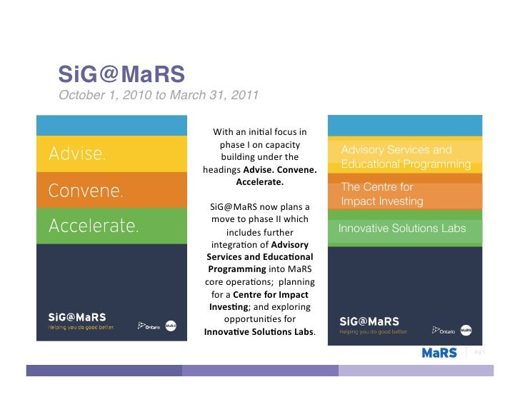 SiG@MaRS reports back! 2011