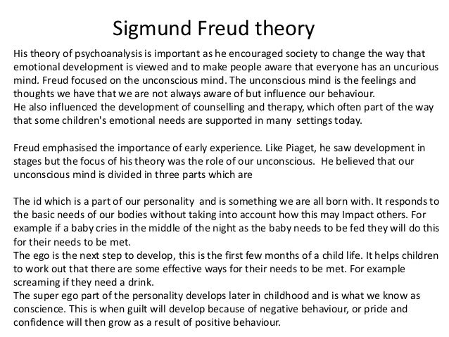 sigmund freuds psychosexual theory Freud believed that the first few years of life are the most important for the development of a child's personality and character he conceptualized severa.