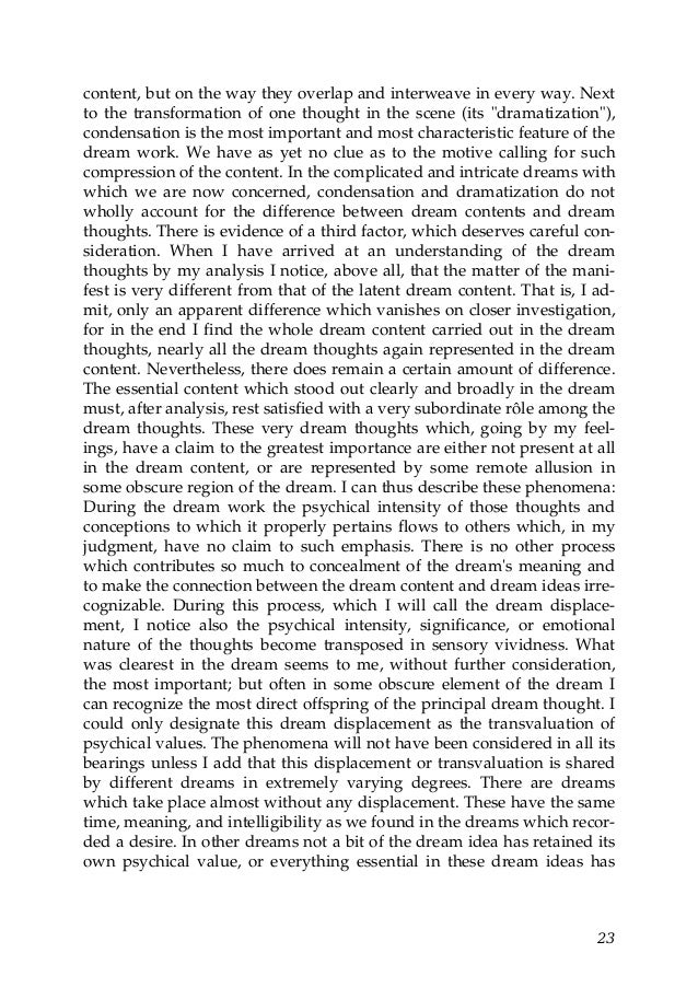 freud essay on dreams Faqs about sigmund freud's the interpretation of dreams, published in 1899 apsaa member leon hoffman, md answers some of the questions about the this period in the history of.