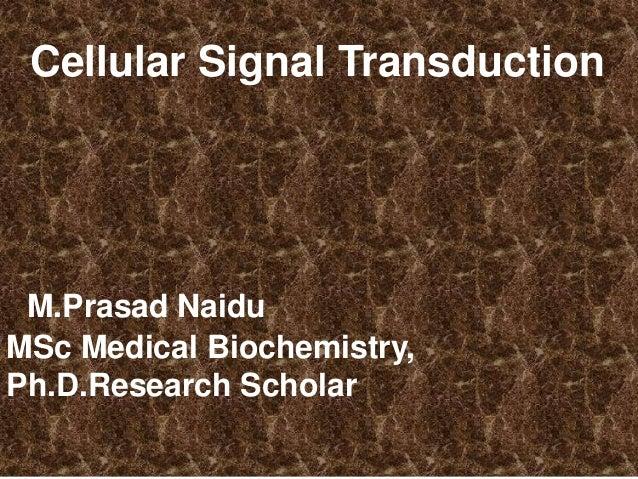 Cellular Signal Transduction M.Prasad Naidu MSc Medical Biochemistry, Ph.D.Research Scholar