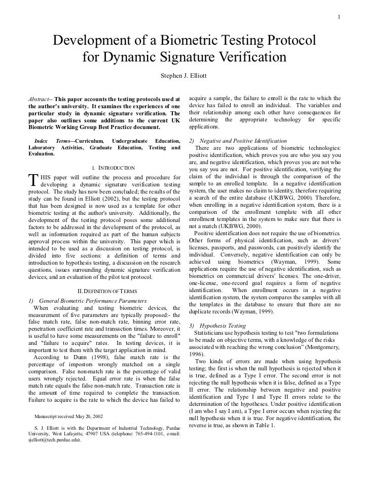 1               Development of a Biometric Testing Protocol                for Dynamic Signature Verification             ...
