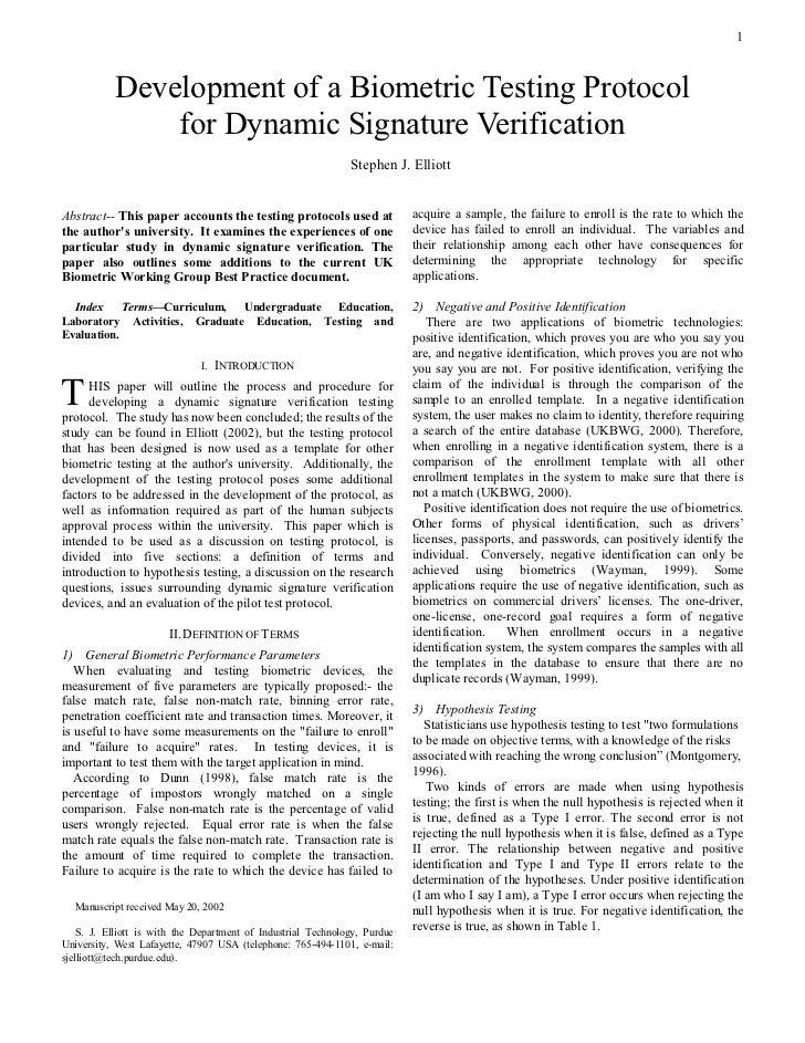 (2002) Development of a Biometric Testing Protocol for Dynamic Signature Verification