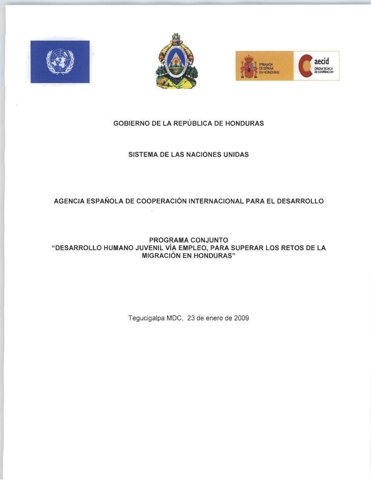 PROGRAMA CONJUNTO JUVENTUD EMPLEO Y MIGRACION. Documento de proyecto