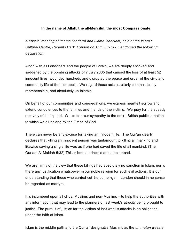 Signed ulama statement
