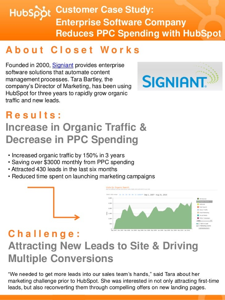 Customer Case Study:                     Enterprise Software Company                     Reduces PPC Spending with HubSpot...