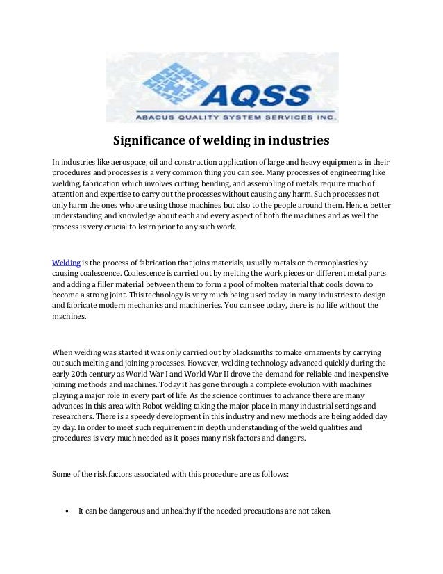 Significance of welding in industries