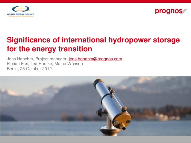 Significance of international hydropower storage   Jens Hobohm