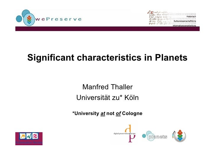 Significant Characteristics In Planets Manfred Thaller