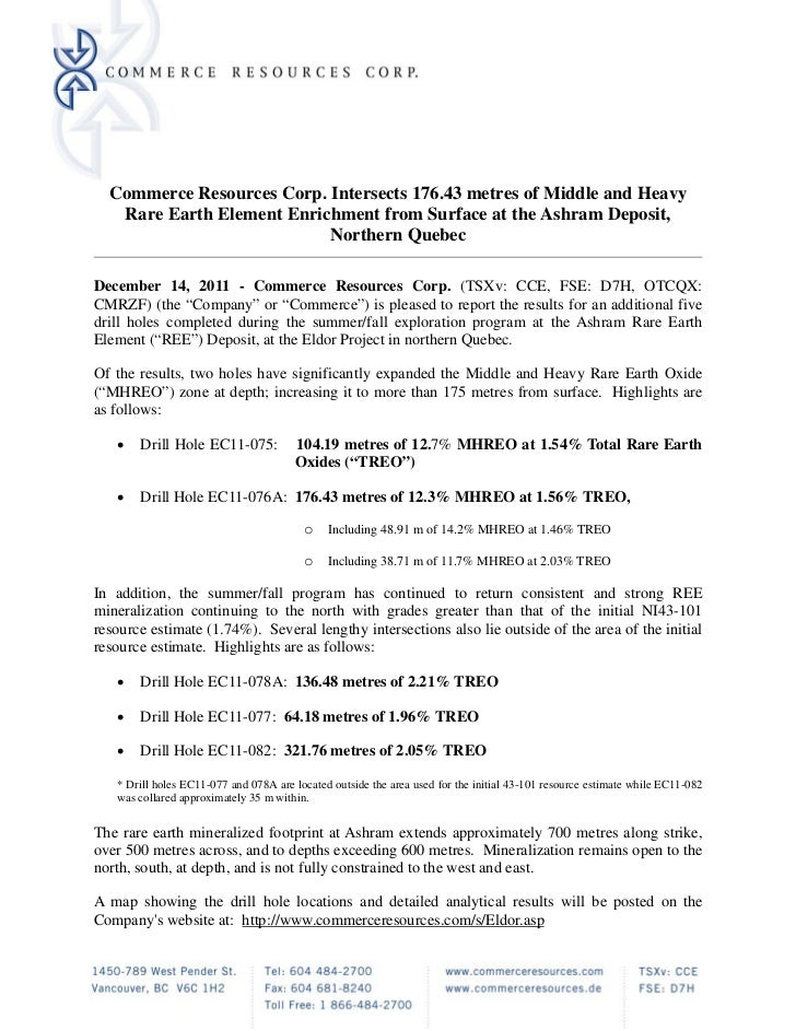 News Release: Commerce Resources Corp. (TSXv: CCE) Intersects 176.43m of Middle and Heavy Rare Earth Element Enrichment