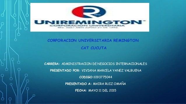 CARRERA: ADMINISTRACION DE NEGOCIOS INTERNACIONALES PRESENTADO POR: VIVIANA MARCELA YANEZ VALBUENA CODIGO:1093775044 PRESE...