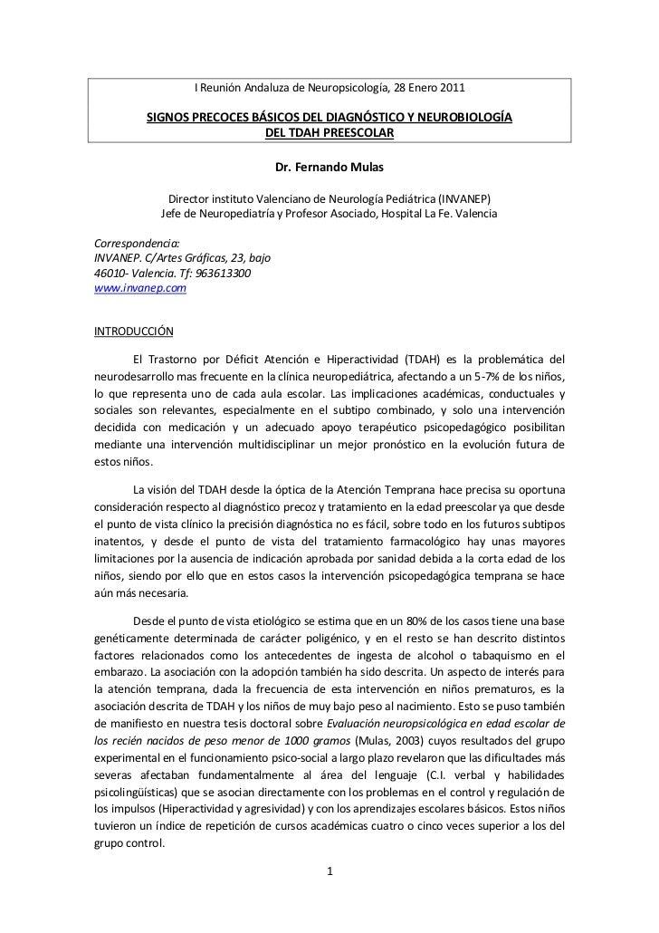 I Reunión Andaluza de Neuropsicología, 28 Enero 2011          SIGNOS PRECOCES BÁSICOS DEL DIAGNÓSTICO Y NEUROBIOLOGÍA     ...
