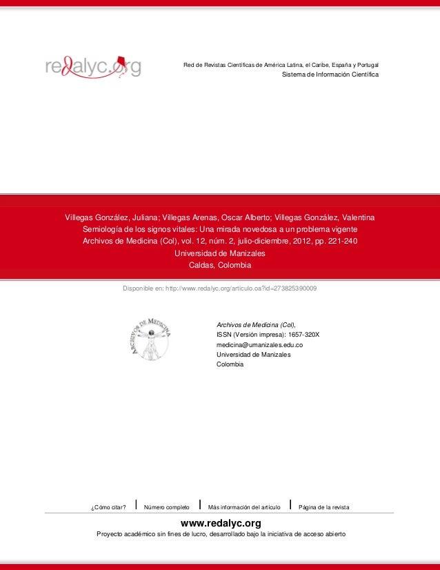 Red de Revistas Científicas de América Latina, el Caribe, España y Portugal  Sistema de Información Científica  Villegas G...