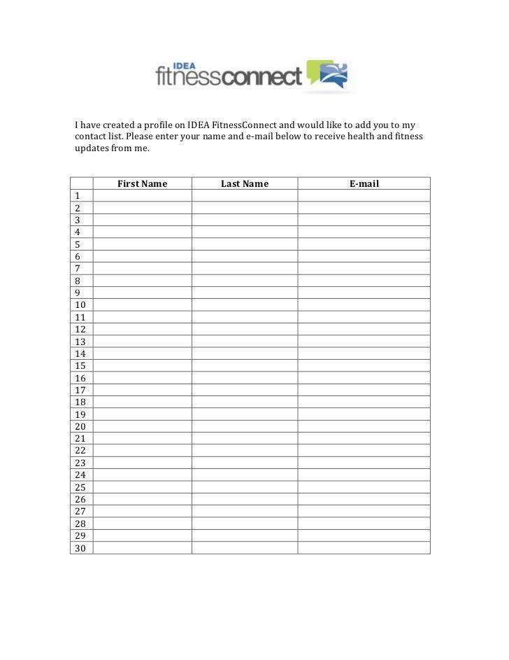 Signup Sheet For E Fitness Newsletter