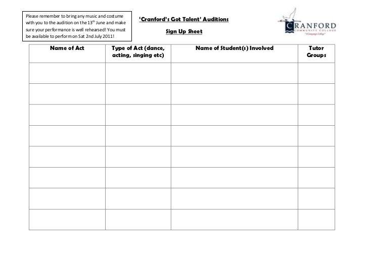 Volunteer Sign Up Sheet Template