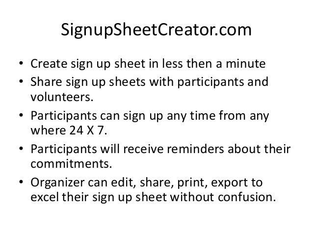 sign up sheet online