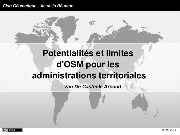 Potentialités et limites  d'OSM pour les  administrations territoriales