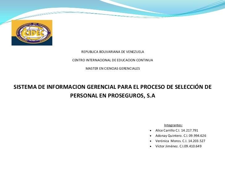 REPUBLICA BOLIVARIANA DE VENEZUELA                  CENTRO INTERNACIONAL DE EDUCACION CONTINUA                        MAST...