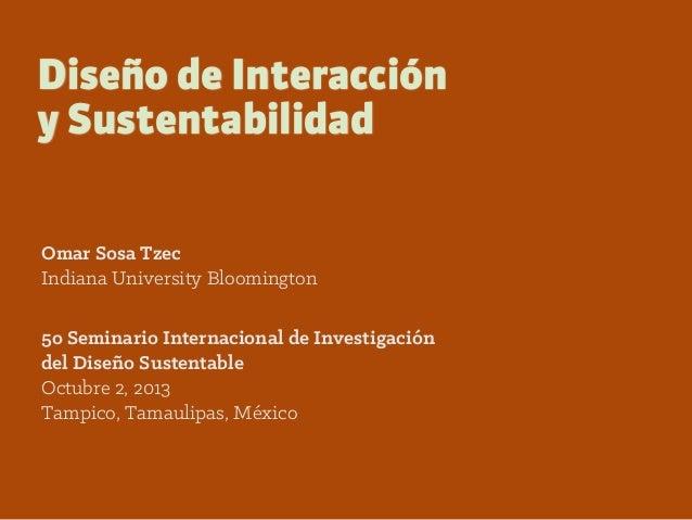 Diseño de Interacción y Sustentabilidad