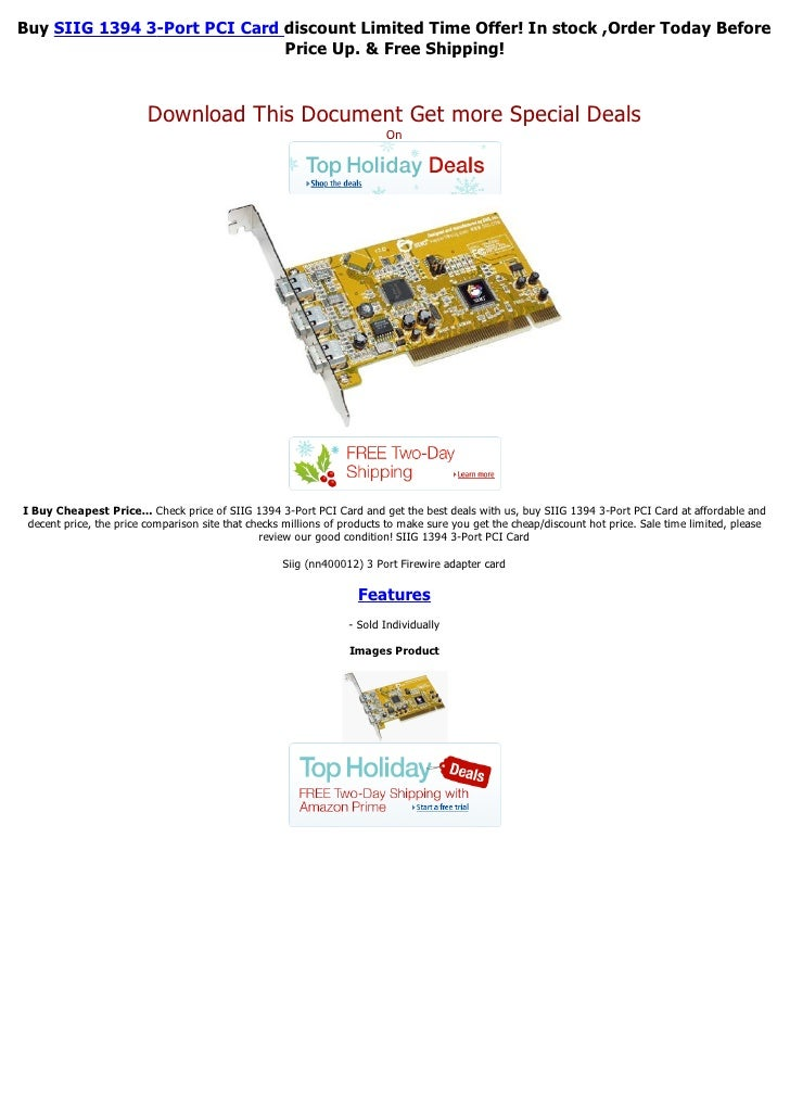 Buy SIIG 1394 3-Port PCI Card discount Limited Time Offer! In stock ,Order Today Before                              Price...
