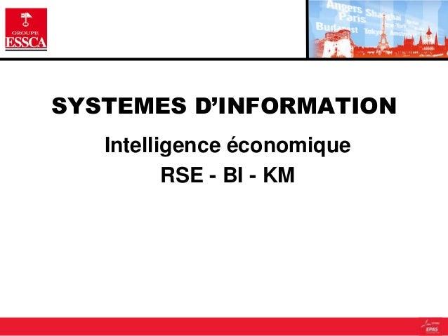 SYSTEMES D'INFORMATION Intelligence économique RSE - BI - KM