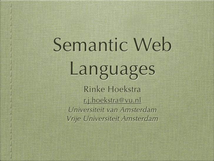 SIKS 2011 Semantic Web Languages