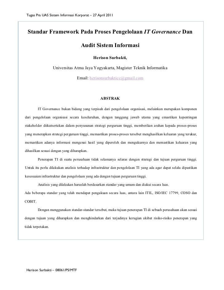 Tugas Pra UAS Sistem Informasi Korporat – 27 April 2011  Standar Framework Pada Proses Pengelolaan IT Governance Dan      ...