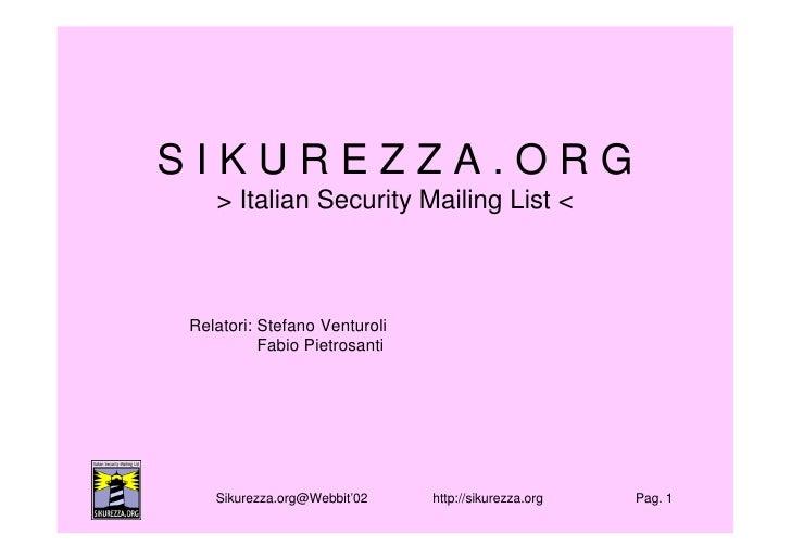 2004: Webbit Padova 04: Presentazione Sikurezza.Org