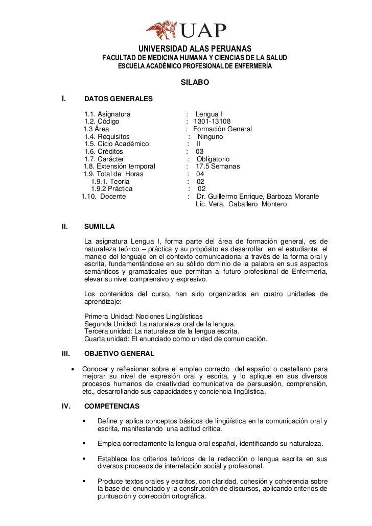 SILABO DE LENGUA I