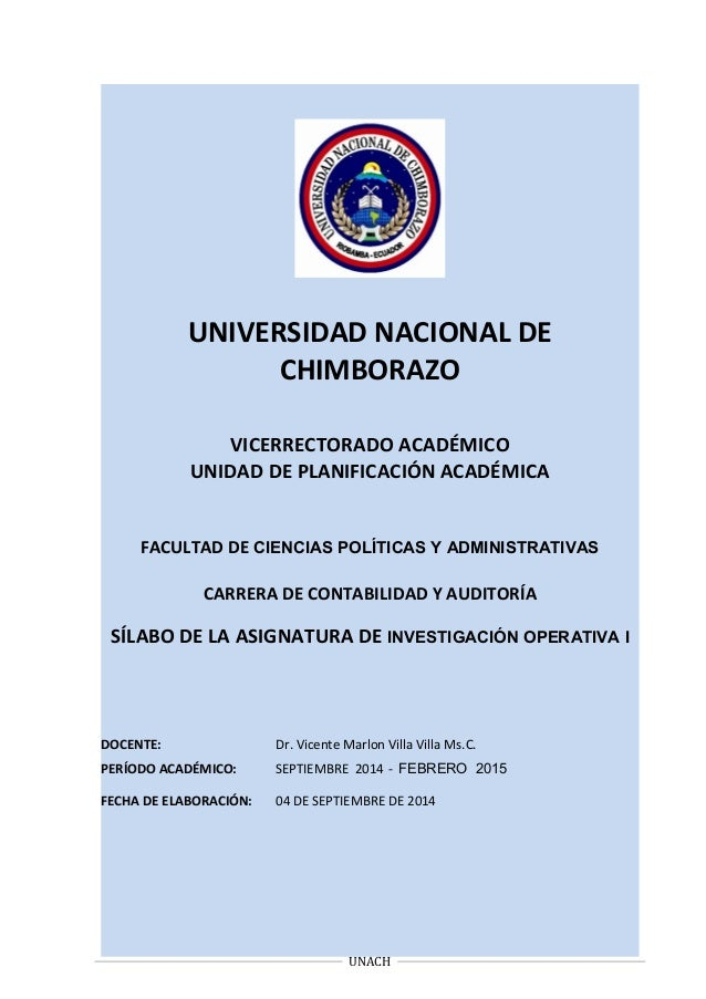 UNIVERSIDAD NACIONAL DE CHIMBORAZO VICERRECTORADO ACADÉMICO UNIDAD DE PLANIFICACIÓN ACADÉMICA FACULTAD DE CIENCIAS POLÍTIC...