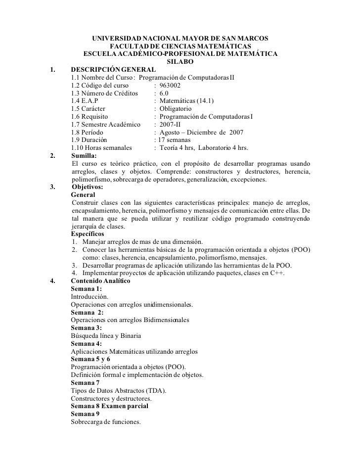 UNIVERSIDAD NACIONAL MAYOR DE SAN MARCOS                    FACULTAD DE CIENCIAS MATEMÁTICAS           ESCUELA ACADÉMICO-P...