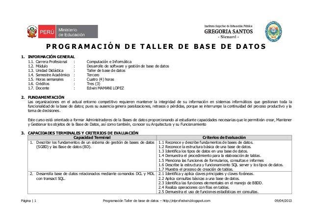 Página   1 Programación Taller de base de datos – http://elprofedwin.blogspot.com 09/04/2013P R O G R A M A C I Ó N D E T ...