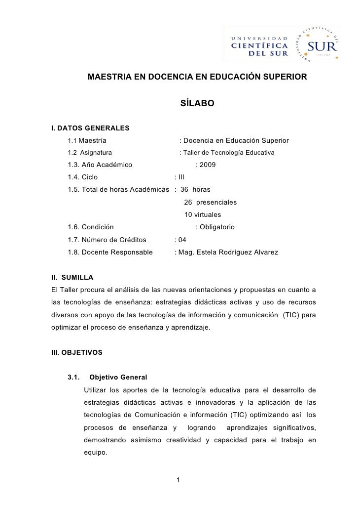 MAESTRIA EN DOCENCIA EN EDUCACIÓN SUPERIOR                                              SÍLABO  I. DATOS GENERALES      1....