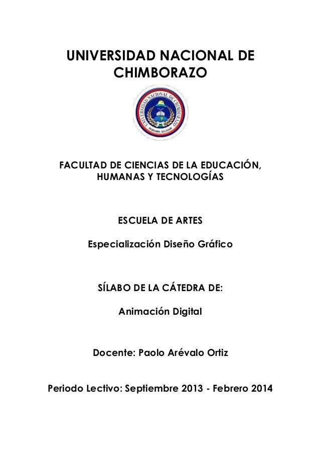 UNIVERSIDAD NACIONAL DE CHIMBORAZO FACULTAD DE CIENCIAS DE LA EDUCACIÓN, HUMANAS Y TECNOLOGÍAS ESCUELA DE ARTES Especializ...