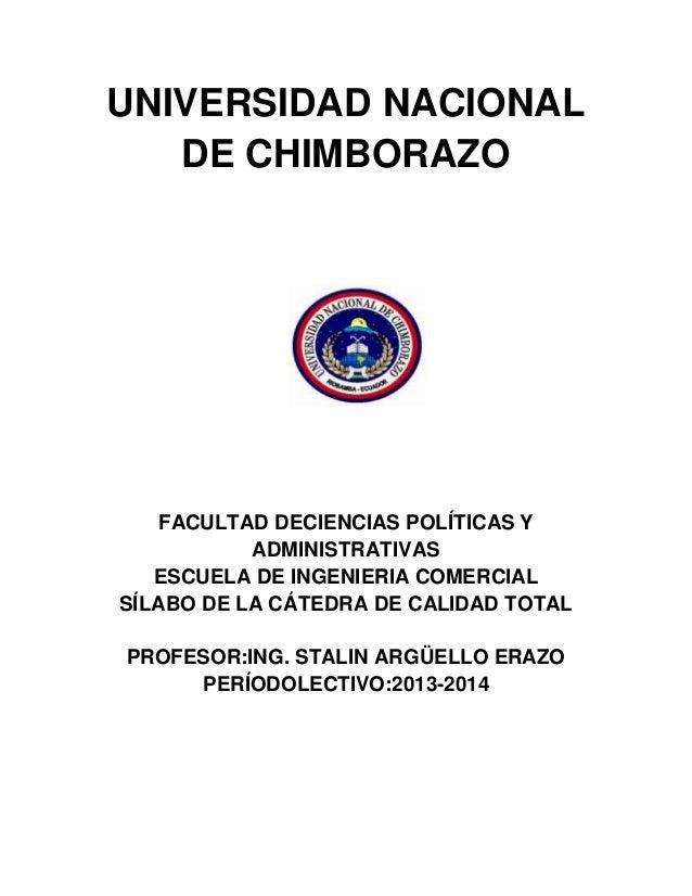 UNIVERSIDAD NACIONAL DE CHIMBORAZO FACULTAD DECIENCIAS POLÍTICAS Y ADMINISTRATIVAS ESCUELA DE INGENIERIA COMERCIAL SÍLABO ...