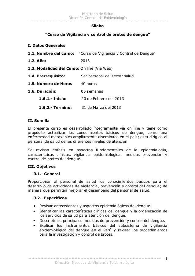 Ministerio de Salud Dirección General de Epidemiología -------------------------------------------------------------------...