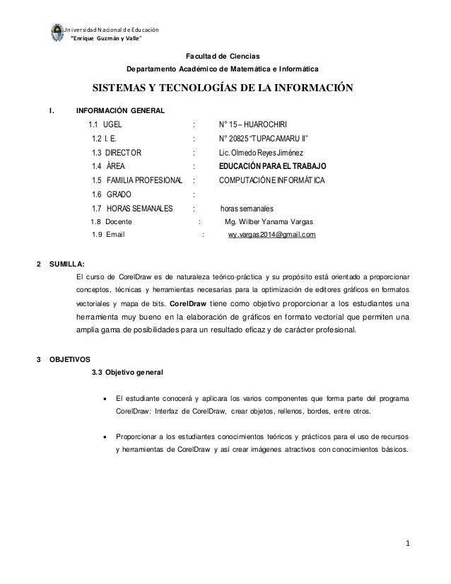 """UniversidadNacional de Educación """"Enrique Guzmán y Valle"""" 1 Facultad de Ciencias Departamento Académico de Matemática e In..."""
