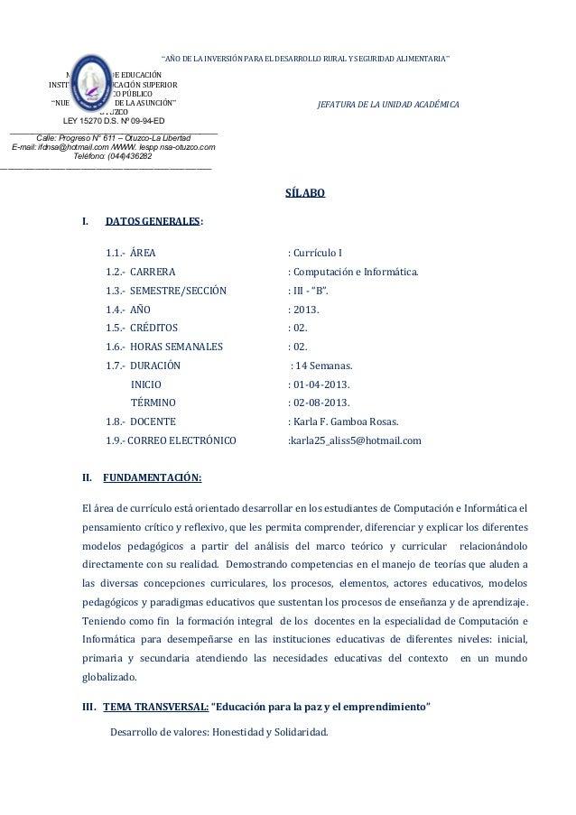 """""""AÑO DE LA INVERSIÓN PARA EL DESARROLLO RURAL Y SEGURIDAD ALIMENTARIA""""JEFATURA DE LA UNIDAD ACADÉMICASÍLABOI. DATOS GENERA..."""