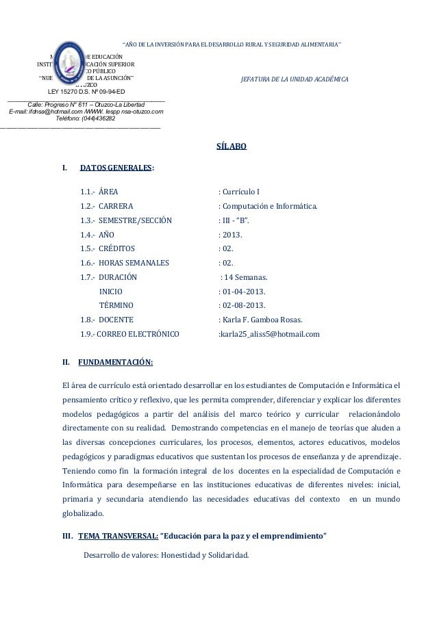Silabo de curriculo i  2013-i c e inf.