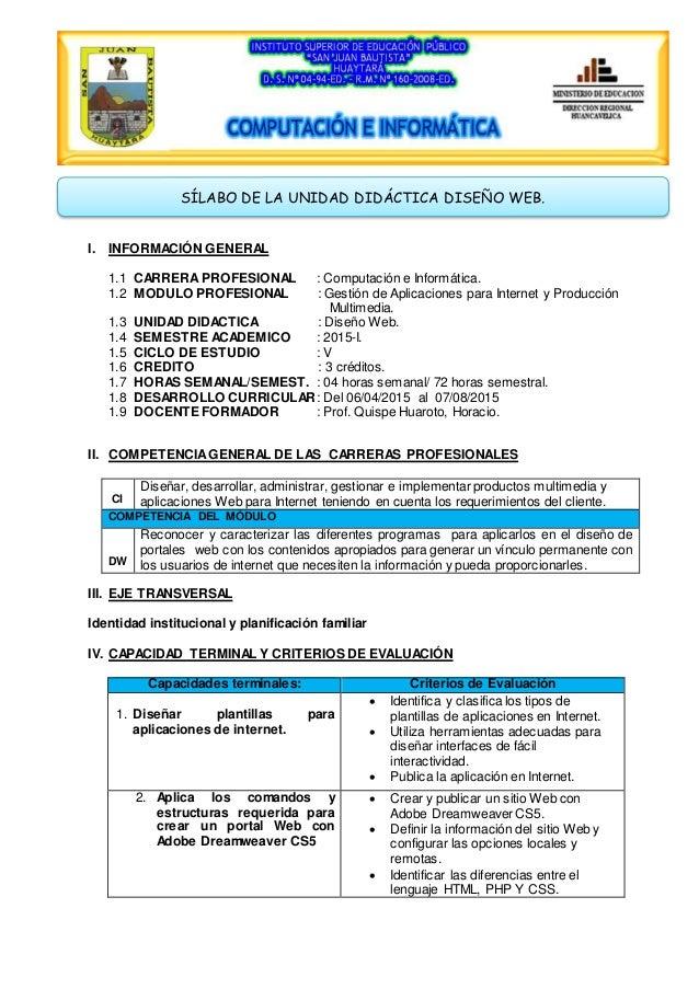 I. INFORMACIÓN GENERAL 1.1 CARRERA PROFESIONAL : Computación e Informática. 1.2 MODULO PROFESIONAL : Gestión de Aplicacion...