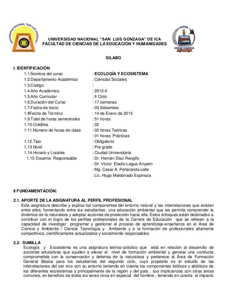 SILABO DE ECOLOGÍA Y ECOSISTEMAS