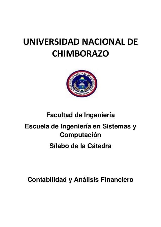 UNIVERSIDAD NACIONAL DE CHIMBORAZO Facultad de Ingeniería Escuela de Ingeniería en Sistemas y Computación Sílabo de la Cát...