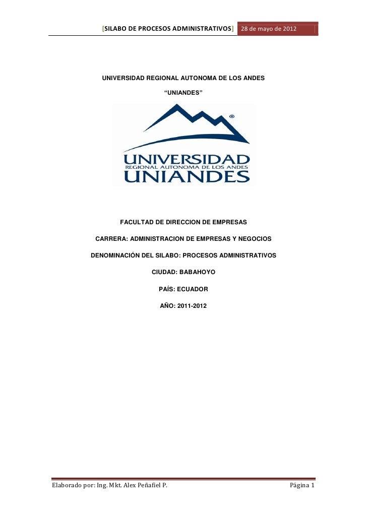 Silabo de procesos admininistrativos  alex peñafiel 1