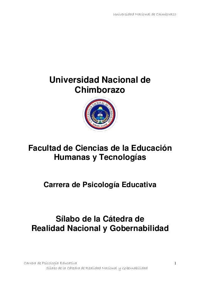 Universidad Nacional de ChimborazoCarrera de Psicología EducativaSílabo de la Cátedra de Realidad Nacional y Gobernabilida...