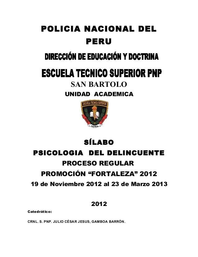 Silabo desarrollado psicologia del delincuente 2012