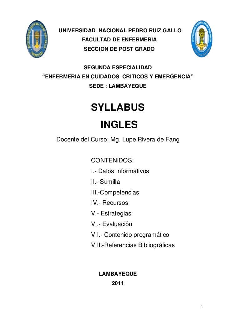 UNIVERSIDAD NACIONAL PEDRO RUIZ GALLO            FACULTAD DE ENFERMERIA             SECCION DE POST GRADO             SEGU...