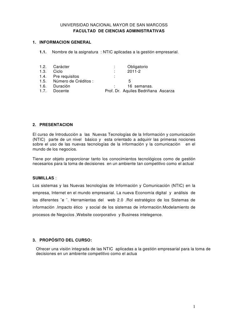 UNIVERSIDAD NACIONAL MAYOR DE SAN MARCOSS                   FACULTAD DE CIENCIAS ADMINISTRATIVAS1. INFORMACION GENERAL   1...