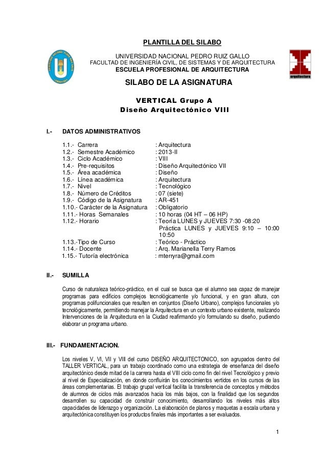 1 PLANTILLA DEL SILABO UNIVERSIDAD NACIONAL PEDRO RUIZ GALLO FACULTAD DE INGENIERÍA CIVIL, DE SISTEMAS Y DE ARQUITECTURA E...
