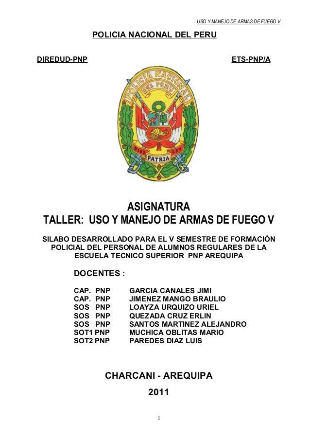 USO Y MANEJO DE ARMAS DE FUEGO V POLICIA NACIONAL DEL PERUDIREDUD-PNP
