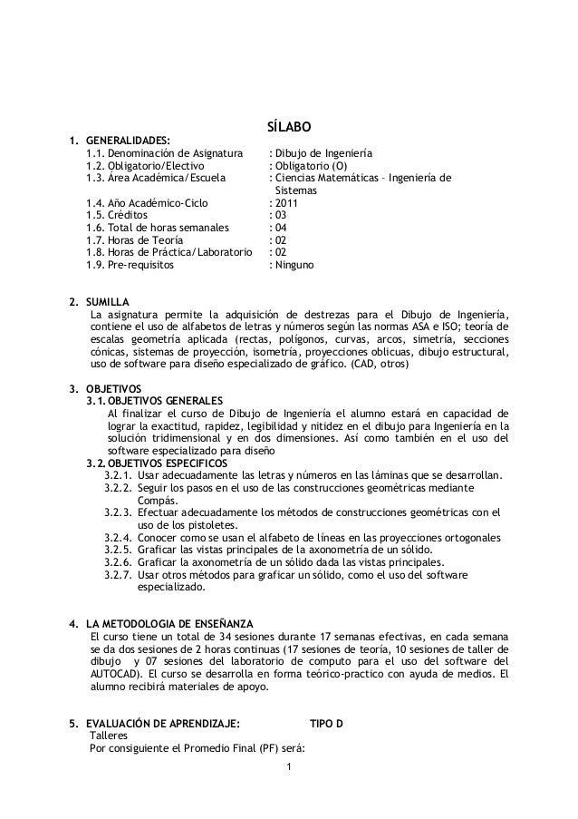 SÍLABO 1. GENERALIDADES: 1.1. Denominación de Asignatura : Dibujo de Ingeniería 1.2. Obligatorio/Electivo : Obligatorio (O...