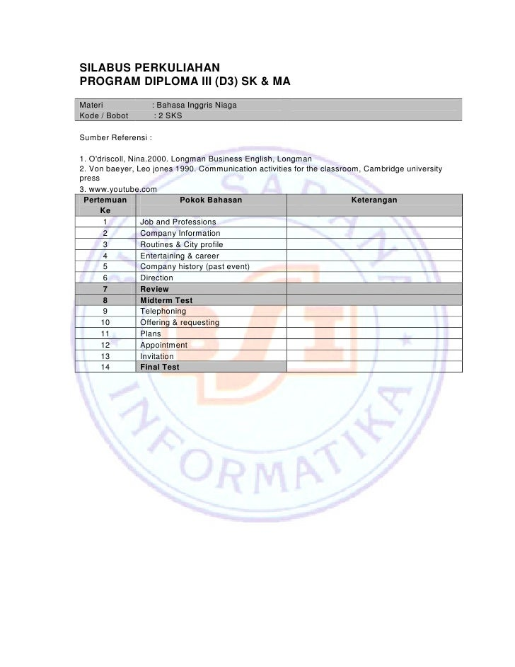 SILABUS PERKULIAHAN PROGRAM DIPLOMA III (D3) SK & MA Materi            : Bahasa Inggris Niaga Kode / Bobot       : 2 SKS  ...